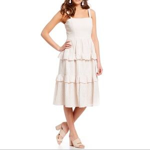 Gianni Bini Molly Eyelet tiered midi embroidered